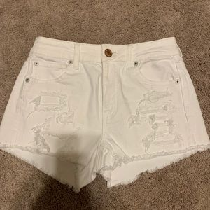 American Eagle White Distress High Waisted Shorts